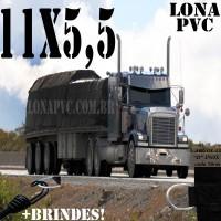 Lona: 11,0 x 5,5m de PVC Premium para Caminhão Vinil Vinilona Emborrachada Preto Fosco Anti-Chamas + 21 LonaFlex Gancho 25cm + 21 LonaFlex Gancho 50cm 1 ROW 0,75m