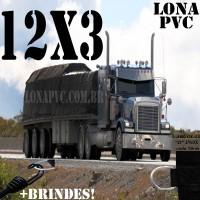 Lona: 12,0 x 3,0m de PVC Premium para Caminhão Vinil Vinilona Emborrachada Preto Fosco Anti-Chamas + 18 LonaFlex Gancho 25cm + 18 LonaFlex Gancho 50cm 1 ROW 0,35m