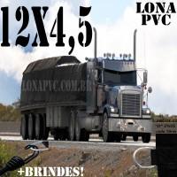 Lona: 12,0 x 4,5m de PVC Premium para Caminhão Carreta 2 Eixos Vinil Vinilona Emborrachada Preto Fosco Anti-Chamas + 20 LonaFlex Gancho 25cm + 20 LonaFlex Gancho 50cm 1 ROW 0,75m