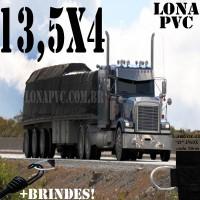 Lona: 13,5 x 4,0m de PVC Premium para Caminhão Vinil Vinilona Emborrachada Preto Fosco Anti-Chamas + 20 LonaFlex Gancho 25cm + 20 LonaFlex Gancho 50cm 1 ROW 0,35m