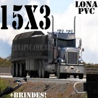 Lona: 15,0 x 3,0m de PVC Premium para Caminhão Carreta 3 eixos Vinil Vinilona Emborrachada Preto Fosco Anti-Chamas + 18 LonaFlex Gancho 25cm + 18 LonaFlex Gancho 50cm 1 ROW 0,35m