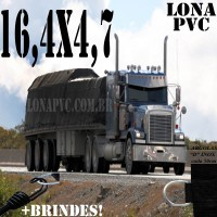 Lona: 16,5 x 4,7m de PVC Premium para Caminhão Vinil Vinilona Emborrachada Preto Fosco Anti-Chamas + 26 LonaFlex Gancho 25cm + 26 LonaFlex Gancho 50cm