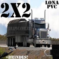 Lona 2,0 x 2,0m de PVC Premium para Caminhão Vinil Emborrachada Preto Fosco Anti-Chamas + 5 LonaFlex Gancho 25cm + 5 LonaFlex Gancho 50cm