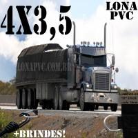 Lona 4,0 x 3,5m de PVC para Caminhão Vinil Preto Fosco Anti-Chamas + 7 LonaFlex Gancho 25cm + 7 LonaFlex Gancho 50cm