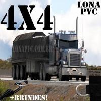 Lona 4,0 x 4,0m de PVC Premium para Caminhão Vinil Emborrachada Preto Fosco Anti-Chamas + 12 LonaFlex Gancho 25cm + 12 LonaFlex Gancho 50cm