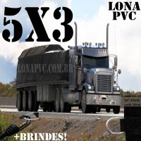Lona 5,0 x 3,0m de PVC Premium para Caminhão Vinil Emborrachada Preto Fosco Anti-Chamas + 10 LonaFlex Gancho 25cm + 10 LonaFlex Gancho 50cm