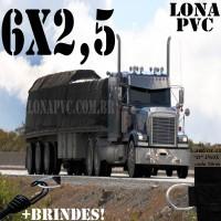 Lona 6,0 x 2,5m de PVC Premium para Caminhão Vinil Vinilona Emborrachada Preto Fosco Anti-Chamas + 10 LonaFlex Gancho 25cm + 10 LonaFlex Gancho 50cm