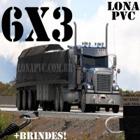 Lona 6,0 x 3,0m de PVC Premium para Caminhão Vinil Vinilona Emborrachada Preto Fosco Anti-Chamas + 12 LonaFlex Gancho 25cm + 12 LonaFlex Gancho 50cm