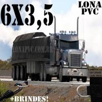 Lona 6,0 x 3,5m de PVC Premium para Caminhão Vinil Bastulante Toco  Emborrachada Preto Fosco Anti-Chamas + 12 LonaFlex Gancho 25cm + 12 LonaFlex Gancho 50cm 1 ROW 0,35m