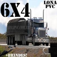 Lona 6,0 x 4,0m de PVC para Caminhão Vinil Vinilona Premium Preto Fosco Anti-Chamas + 14 LonaFlex Gancho 25cm + 14 LonaFlex Gancho 50cm