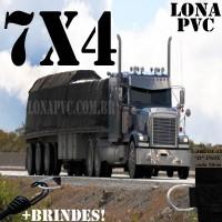 Lona 7,0 x 4,0m de PVC Premium para Caminhão Truck Vinil Vinilona Emborrachada Preto Fosco Anti-Chamas + 14 LonaFlex Gancho 25cm + 14 LonaFlex Gancho 50cm 1 ROW 0,35m