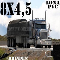 Lona 8,0 x 4,5m de PVC Premium para Caminhão Truck Vinil Vinilona Emborrachada Preto Fosco Anti-Chamas + 16 LonaFlex Gancho 25cm + 16 LonaFlex Gancho 50cm 1 ROW 0,75m