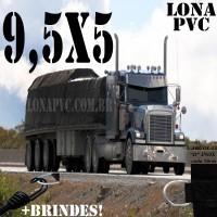 Lona 9,5 x 5,0m de PVC Premium para Caminhão Bitrem Vinil Vinilona Emborrachada Preto Fosco Anti-Chamas + 18 LonaFlex Gancho 25cm + 18 LonaFlex Gancho 50cm 1 ROW 0,75m