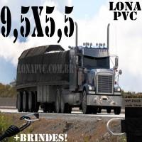 Lona 9,5 x 5,5m de PVC Premium para Caminhão Bitrem Vinil Vinilona Emborrachada Preto Fosco Anti-Chamas + 19 LonaFlex Gancho 25cm + 19 LonaFlex Gancho 50cm 1 ROW 0,75m