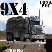 Lona 9,0 x 4,0m de PVC Premium para Caminhão Truck Vinil Vinilona Emborrachada Preto Fosco Anti-Chamas + 17 LonaFlex Gancho 25cm + 17 LonaFlex Gancho 50cm 1 ROW 0,35m