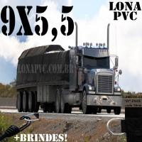 Lona 9,0 x 5,5m de PVC Premium para Caminhão Bitrem Vinil Vinilona Emborrachada Preto Fosco Anti-Chamas + 18 LonaFlex Gancho 25cm + 18 LonaFlex Gancho 50cm 1 ROW 0,75m