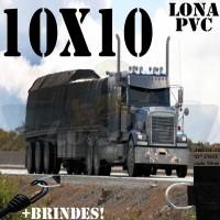 Lona: 10,0 x 10,0m de PVC para Caminhão Vinil Vinilona Premium Preto Fosco Anti-Chamas + 30 LonaFlex Gancho 25cm + 30 LonaFlex Gancho 50cm
