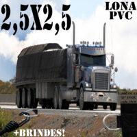 Lona 2,5 x 2,5m de PVC Premium para Caminhão Vinil Emborrachada Preto Fosco Anti-Chamas + 5 LonaFlex Gancho 25cm + 5 LonaFlex Gancho 50cm