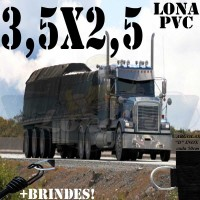 Lona 3,5 x 2,5m de PVC para Caminhão Tipo Vinil Vinilona Premium Preto Fosco Anti-Chamas + 8 LonaFlex Gancho 25cm + 8 LonaFlex Gancho 50cm