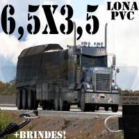 Lona 6,5 x 3,5m de PVC para Caminhão Vinil Vinilona Premium Preto Fosco Anti-Chamas + 10 LonaFlex Gancho 25cm + 10 LonaFlex Gancho 50cm