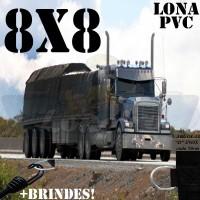 Lona 8,0 x 8,0m de PVC para Caminhão Vinil Vinilona Premium Preto Fosco Anti-Chamas + 25 LonaFlex Gancho 25cm + 25 LonaFlex Gancho 50cm