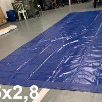 Lona 6,5 x 2,8m PVC Premium Emborrachada Azul com Ilhoses para Cobre Fácil
