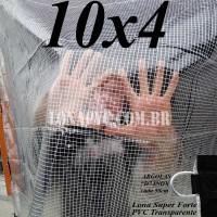 Lona: 10,0 x 4,0 m Transparente Crystal Super PVC Vinil 700 Micras com Tela de Poliéster Impermeável + 30 LonaFlex Gancho de 50cm