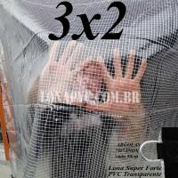 Lona 3,0 x 2,0 m Transparente Crystal Super PVC Vinil 700 Micras com Tela de Poliéster Impermeável + 12 LonaFlex Gancho de 25cm