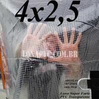 """Lona 4,0 x 2,5 m Transparente Crystal Super PVC Vinil 700 Micras com Tela de Poliéster Impermeável com argolas """"D"""" INOX a cada 50cm"""