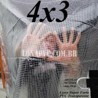 """Lona 4,0 x 3,0 m Transparente Crystal Super PVC Vinil 700 Micras com Tela de Poliéster Impermeável com argolas """"D"""" INOX a cada 50cm"""
