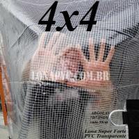 """Lona 4,0 x 4,0 m Transparente Crystal Super PVC Vinil 700 Micras com Tela de Poliéster Impermeável com argolas """"D"""" INOX a cada 50cm"""