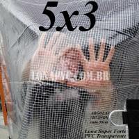 Lona 5,0 x 3,0 m Transparente Crystal Super PVC Vinil 700 Micras com Tela de Poliéster Impermeável + 18 LonaFlex Gancho de 25cm