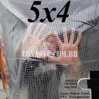 Lona 5,0 x 4,0 m Transparente Crystal Super PVC Vinil 700 Micras com Tela de Poliéster Impermeável + 20 LonaFlex Gancho de 25cm