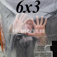 Lona 6,0 x 3,0 m Transparente Crystal Super PVC Vinil 700 Micras com Tela de Poliéster Impermeável + 20 LonaFlex Gancho de 50cm