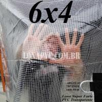 """Lona 6,0 x 4,0 m Transparente Crystal Super PVC Vinil 700 Micras com Tela de Poliéster Impermeável com argolas """"D"""" INOX a cada 50cm"""