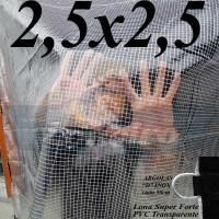 """Lona 2,5 x 2,5 m Transparente Crystal Super PVC Vinil 700 Micras com Tela de Poliéster Impermeável com argolas """"D"""" INOX a cada 50cm"""