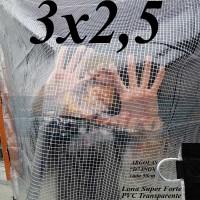Lona 3,0 x 2,5 m Transparente Crystal Super PVC Vinil 700 Micras com Tela de Poliéster Impermeável + 13 LonaFlex Gancho de 25cm