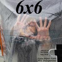 """Lona 6,0 x 6,0 m Transparente Crystal Super PVC Vinil 700 Micras com Tela de Poliéster Impermeável com argolas """"D"""" INOX a cada 50cm"""