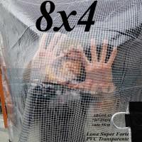 Lona 8,0 x 4,0 m Transparente Crystal Super PVC Vinil 700 Micras com Tela de Poliéster Impermeável + 26 LonaFlex Gancho de 50cm