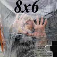 """Lona 8,0 x 6,0 m Transparente Crystal Super PVC Vinil 700 Micras com Tela de Poliéster Impermeável com argolas """"D"""" INOX a cada 50cm"""