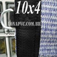 Lona: 10,0 x 4,0m Tela PEAD Premium Caminhão ExtraForte Prata/Azul + 40 metros de corda 8mm com 90% de Sombreamento