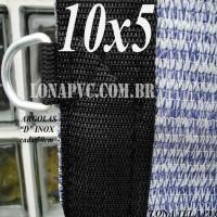 """Lona: 10,0 x 5,0m Tela PEAD Premium Caminhão ExtraForte Prata/Azul 90% de Sombreamento com argolas """"D"""" INOX a cada 50cm"""