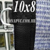 """Lona: 10,0 x 8,0m Tela PEAD Premium Caminhão ExtraForte Prata/Azul  90% de Sombreamento com argolas """"D"""" INOX a cada 50cm"""