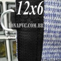 """Lona: 12,0 x 6,0m Tela PEAD Premium Caminhão ExtraForte Prata/Azul 90% de Sombreamento com argolas """"D"""" INOX a cada 50cm"""