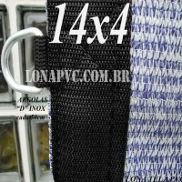 """Lona: 14,0 x 4,0m Tela PEAD Premium Caminhão ExtraForte Prata/Azul 90% de Sombreamento com argolas """"D"""" INOX a cada 50cm"""
