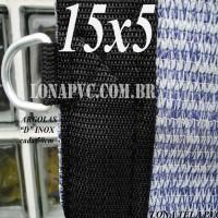 """Lona: 15,0 x 5,0m Tela PEAD Premium Caminhão ExtraForte Prata/Azul 90% de Sombreamento com argolas """"D"""" INOX a cada 50cm"""