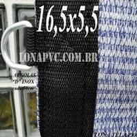 """Lona: 16,5 x 5,5m Tela PEAD Premium Caminhão ExtraForte Prata/Azul 90% de Sombreamento com argolas """"D"""" INOX a cada 50cm"""