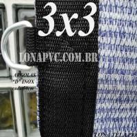 Lona 3,0 x 3,0m Tela PEAD Premium Caminhão ExtraForte Prata/Azul + 20 metros de corda 8mm : 90% de Sombreamento