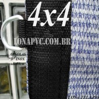 """Lona 4,0 x 4,0m Tela PEAD Premium Caminhão ExtraForte Prata/Azul : 90% de Sombreamento com argolas """"D"""" INOX a cada 50cm"""
