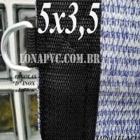 Lona 5,0 x 3,5m Tela PEAD Premium Caminhão ExtraForte Prata/Azul + 30 metros de corda 8mm : 90% de Sombreamento